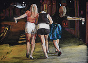 Night Out Pastels Framed Prints - Girls Night Out Framed Print by Kenneth  Williams