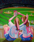 Baseball Paintings - Girls of Summer by Judy Campbell