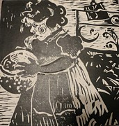 Lino Cut Paintings - Girls play by PainterArtist FINs husband Maestro