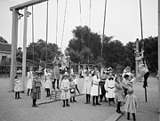 Girls Playground 1899 Print by Stefan Kuhn