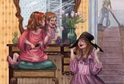 Mother Painting Originals - Girls Playing Dress Up by Isabella Kung