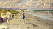 Fischer Prints - Girls Preparing To Bathe On The Beach Print by Paul Fischer