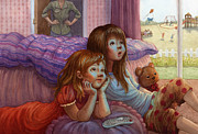 Pink Bedroom Paintings - Girls Staring at TV by Isabella Kung