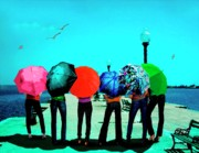 Umbrellas Digital Art - Girls umbrellas and sun by Mario  Perez