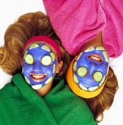 Women Together Posters - Girls With Cucumber And Face Mask Poster by Ron Nickel