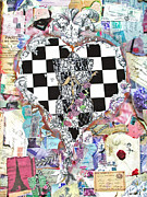 Purple Flowers Mixed Media Posters - Girly Girl Heart Poster by Anahi DeCanio