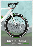 Patriotic Mixed Media Posters - Giro dItalia Bike Poster by Andy Scullion
