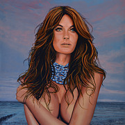 American Football Painting Metal Prints - Gisele Bundchen Metal Print by Paul  Meijering