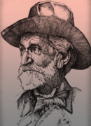 Sepia Ink Drawings - Giuseppe Verdi by Derrick Higgins