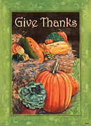 Orange Pumpkins Prints - Give Thanks Print by Debbie DeWitt
