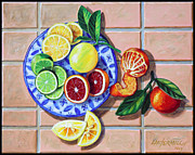 Oranges Painting Originals - Give Us This Day Our Daily Fruit by John Lautermilch