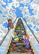 Escalator Drawings Framed Prints - Give Your Worries To God Framed Print by Sarah Batalka