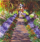 Monet Drawings Posters - Giverny Gardens Pathway after Monet  Poster by Carol Wisniewski
