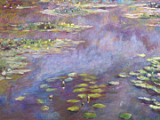 Water Reflections Originals - Giverny Nympheas by David Lloyd Glover