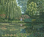 Lillies Painting Prints - Giverny Reflections Print by Richard Harpum