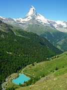 Glacial Lake And The Matterhorn Peak Near Zermatt Switzerland Print by Robert Ford
