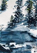 Snowy Trees Paintings - Glacier Creek by Dawn Derman
