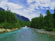 National Mixed Media Prints - Glacier National Park - McDonald Creek Print by Photography Moments - Sandi