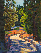 Point Park Painting Posters - Glacier Point Walk Poster by Alice Leggett