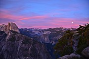 Glacier Point With Sunset And Moonrise Print by Cassie Marie Photography