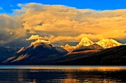 Lake Mcdonald Prints - Glacier Snow Caps Print by Adam Jewell
