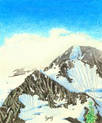 Color Pencil Drawings - Glacier View 1 by Lew Davis