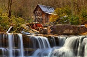 Grist Mill Posters - Glade Creek Cascades Poster by Adam Jewell