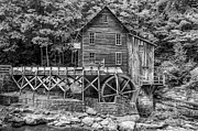 Grist Mill Posters - Glade Creek Grist Mill bw Poster by Steve Harrington