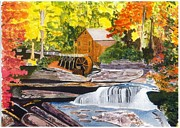 Beautiful Creek Painting Originals - Glade Creek Grist Mill by David Bartsch