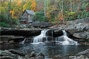 Autumn Landscape Pyrography Prints - Glade Creek Grist Mill Falls Print by Daniel Behm