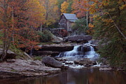 Grist Mill Posters - Glade Creek Grist Mill in autumn Poster by Jetson Nguyen