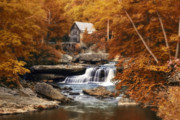 Creek Prints - Glade Creek Mill Selective Focus Print by Tom Mc Nemar