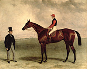 Hall Framed Prints - Gladiateur with Harry Grimshaw Up and His Owner Count Frederic de Lagrange Framed Print by Harry Hall
