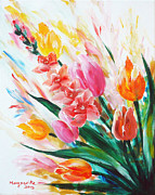 Floral Sculpture Prints - Gladiola 1 left Print by Marguerite Ujvary Taxner