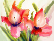 Gladiola Paintings - Gladiolas by Addie Hocynec