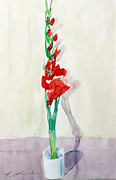 Gladiolas Painting Prints - Gladiolas in a Coffee Cup Print by Mark Lunde