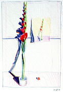 Gladiolas Painting Framed Prints - Gladiolas pic. in pic. Framed Print by Mark Lunde