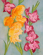 Gladiolas Paintings - Gladiolas by Silvia Roberts