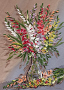 Featured Tapestries - Textiles Originals - Gladioli by Marina Gershman
