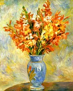 Vase Of Flowers Digital Art Prints - Gladioli Print by Pierre-Auguste Renoir