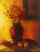Glads Paintings - Gladioli Red by Marlene Book