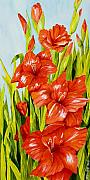 Gladiola Paintings - Gladioli Standing Tall by Janis Grau