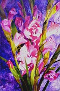 Gladiolus Paintings - Gladiolus Glamour by Betty M M   Wong