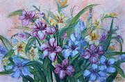 Gladiolas Painting Prints - Gladiolus Print by Natalie Holland