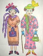 Sisters Drawings - Gladys And Catherine by Jan Muse