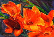 Gladiola Paintings - Glamorous Gladiolas by Mohamed Hirji