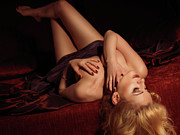 Glamour Prints - Glamour Photo of a Woman Lying on a Bed Print by Oleksiy Maksymenko