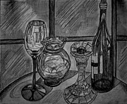 Glass Bottle Drawings Originals - Glas and light by Ulrike Proctor
