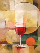 Wine-glass Paintings - Glas of Red by Lutz Baar