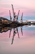 Glasgow Cityscape Framed Prints - Glasgow Cranes with belt of Venus Framed Print by John Farnan